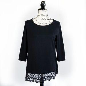 TOMMY HILFIGER▪Black 3/4 Sleeve T-shirt w/ lace